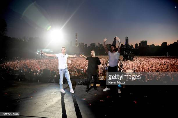 Andrew Taggart and Alex Pall of The Chainsmokers perform onstage during the 2017 Global Citizen Festival For Freedom For Justice For All in Central...