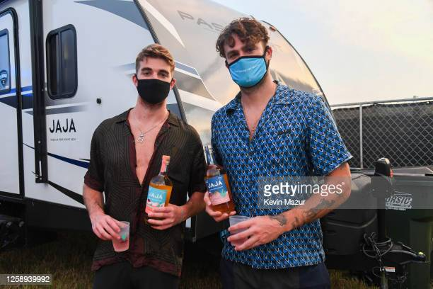 Andrew Taggart and Alex Pall of The Chainsmokers pose backstage during the 'Safe & Sound' Drive-In Concert Fundraiser Presented by JAJA Tequila and...