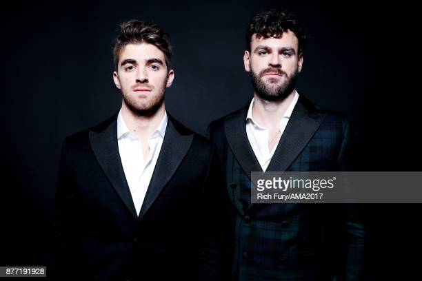 Andrew Taggart and Alex Pall of The Chainsmokers pose for a portrait during the 2017 American Music Awards at Microsoft Theater November 19 2017 in...
