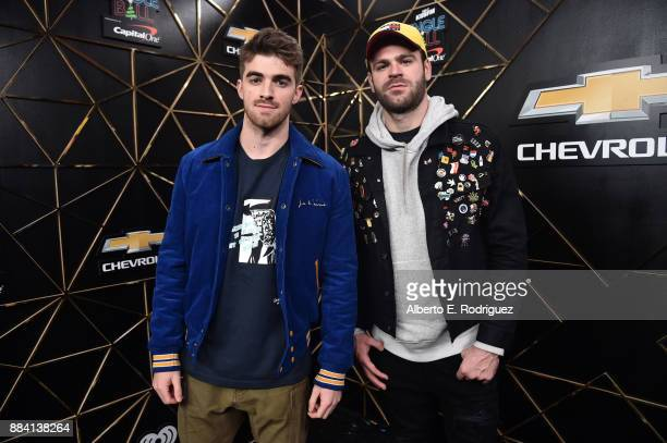 Andrew Taggart and Alex Pall of The Chainsmokers pose in the press room during 1027 KIIS FM's Jingle Ball 2017 presented by Capital One at The Forum...
