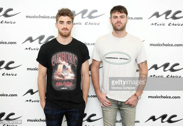 Andrew Taggart and Alex Pall of The Chainsmokers visit Music Choice on July 30 2018 in New York City