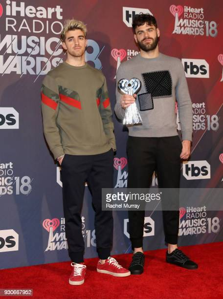 Andrew Taggart and Alex Pall of The Chainsmokers winners of Best Collaboration for 'Something Just Like This' Dance Artist of the Year and Dance...