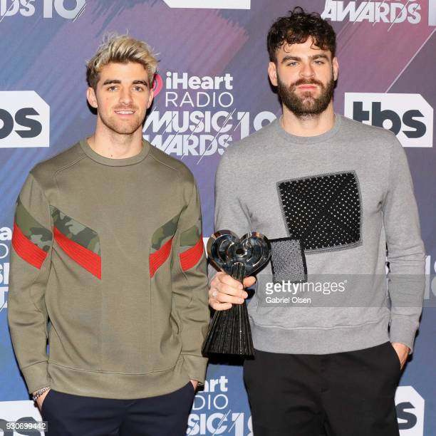 Andrew Taggart and Alex Pall of The Chainsmokers winners of the awards for Best Collaboration for 'Something Just Like This' Dance Artist of the Year...