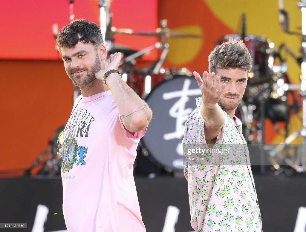 Andrew Taggart and DJ Alex Pall of The Chainsmokers pose for photos on ABC's 'Good Morning America' at SummerStage at Rumsey Playfield, Central Park on August 10, 2018 in New York City.