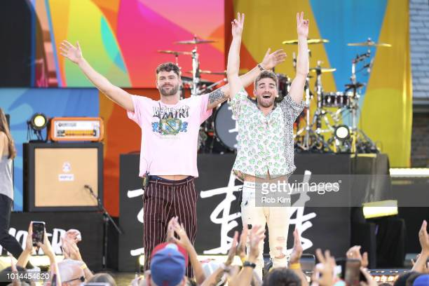 Andrew Taggart and DJ Alex Pall of The Chainsmokers pose for photos on ABC's Good Morning America at SummerStage at Rumsey Playfield Central Park on...