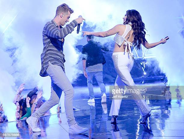 Andrew Taggart and Halsey perform onstage during the 2016 MTV Video Music Awards at Madison Square Garden on August 28 2016 in New York City