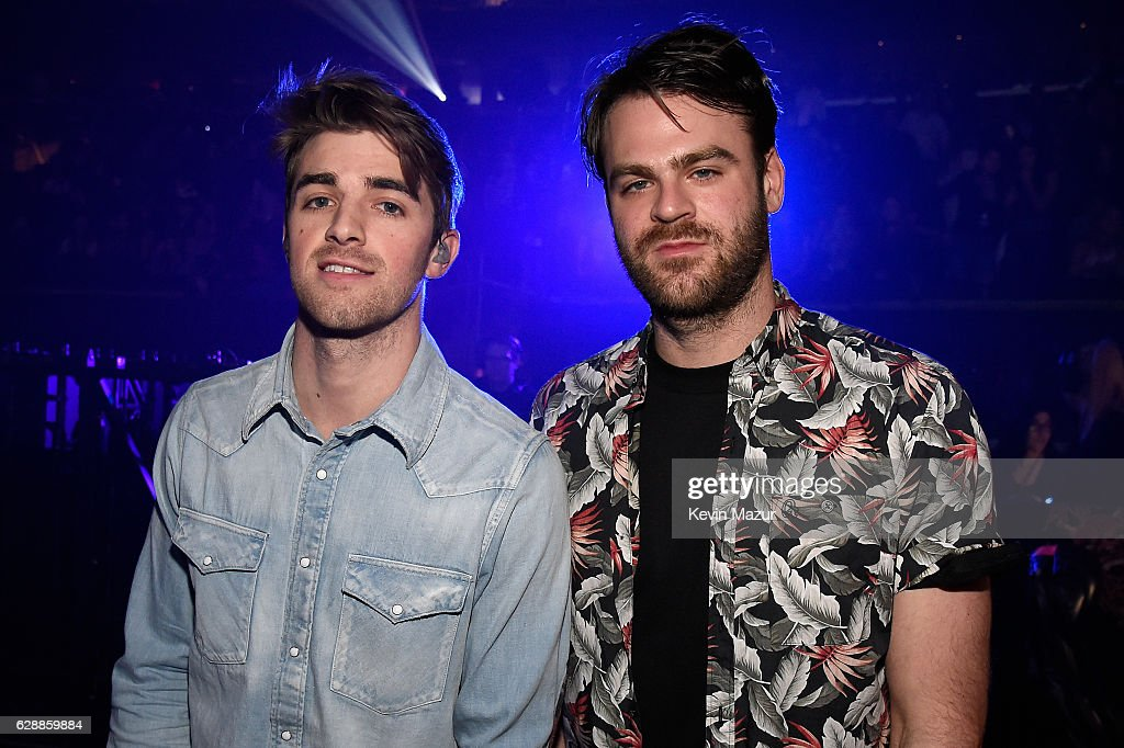 Andrew Taggart and Rhett Bixler of The Chainsmokers backstage during Z100's Jingle Ball 2016 at Madison Square Garden on December 9, 2016 in New York, New York.