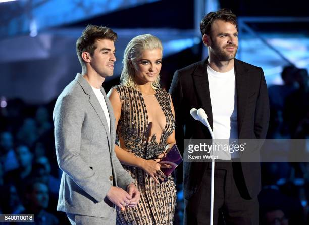 Andrew Taggart Bebe Rexha and Alex Pall speak onstage during the 2017 MTV Video Music Awards at The Forum on August 27 2017 in Inglewood California
