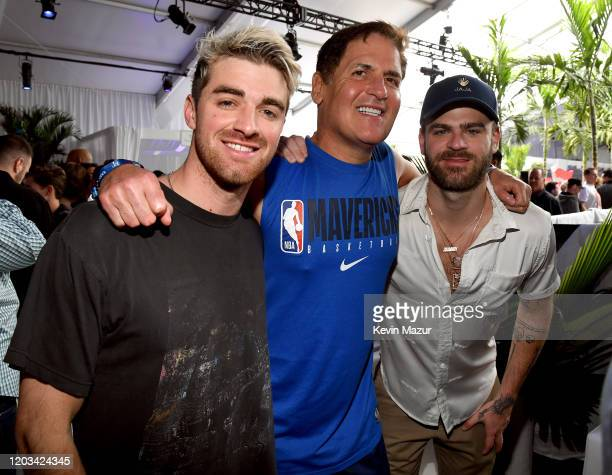Andrew Taggart Mark Cuban and Alex Pall attend Michael Rubin's Fanatics Super Bowl Party at Loews Miami Beach Hotel on February 01 2020 in Miami...