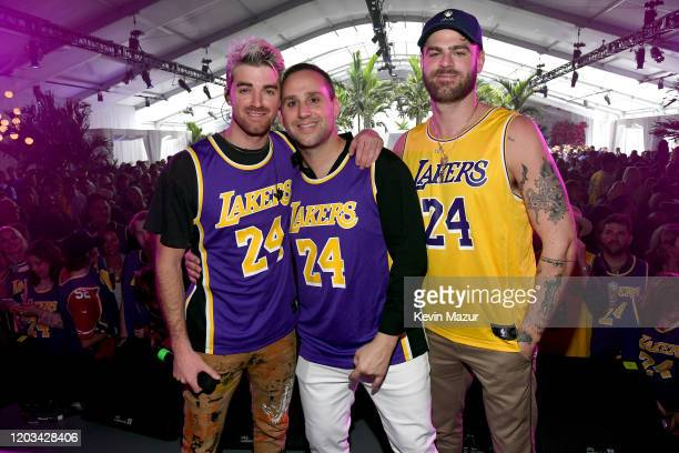 Andrew Taggart Michael Rubin and Alex Pall appear onstage at Michael Rubin's Fanatics Super Bowl Party at Loews Miami Beach Hotel on February 01 2020...