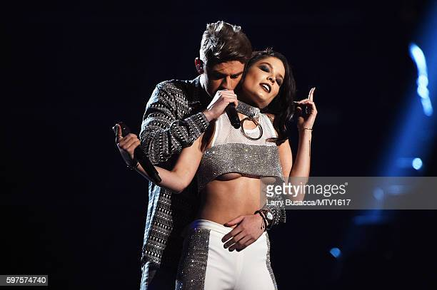 Andrew Taggart of The Chainsmokers and Halsey perform onstage during the 2016 MTV Video Music Awards at Madison Square Garden on August 28 2016 in...