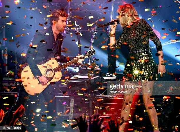 Andrew Taggart of The Chainsmokers and Kelsea Ballerini perform onstage during Dick Clark's New Year's Rockin' Eve With Ryan Seacrest 2019 on...
