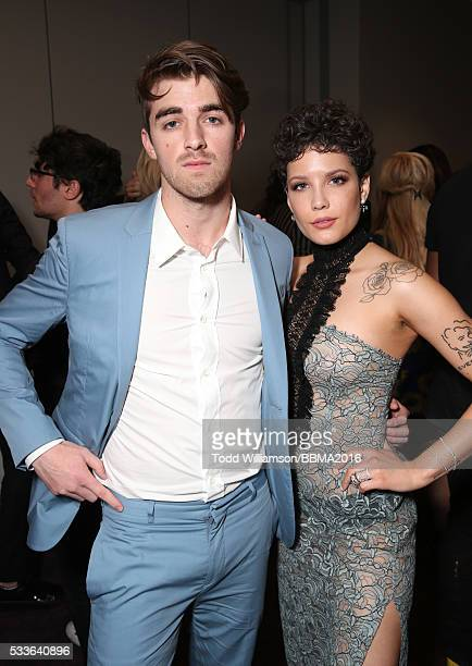 DJ Andrew Taggart of The Chainsmokers and singer Halsey attend the 2016 Billboard Music Awards at TMobile Arena on May 22 2016 in Las Vegas Nevada