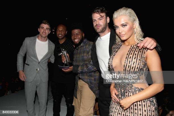 Andrew Taggart of The Chainsmokers guest Khalid Alex Pall of The Chainsmokers and Bebe Rexha onstage during the 2017 MTV Video Music Awards at The...