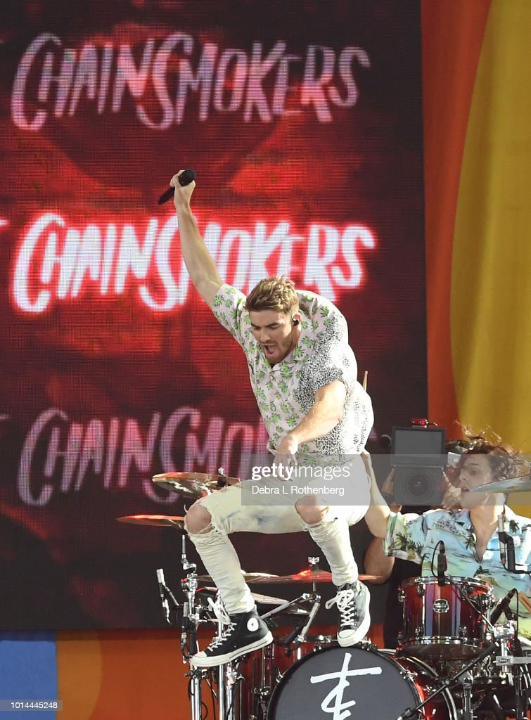 Andrew Taggart of the Chainsmokers performs live on ABC's 'Good Morning America' at SummerStage at Rumsey Playfield, Central Park on August 10, 2018 in New York City.
