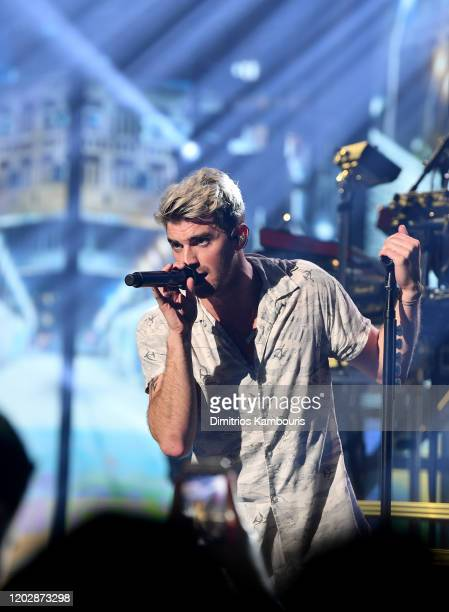 Andrew Taggart of The Chainsmokers performs live on stage during an exclusive concert for SiriusXM and Pandora as part of Its Super Bowl Week Opening...