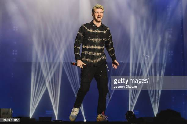 Andrew Taggart of The Chainsmokers performs live on stage during Redfestdxb Festival 2018 on February 8 2018 in Dubai United Arab Emirates