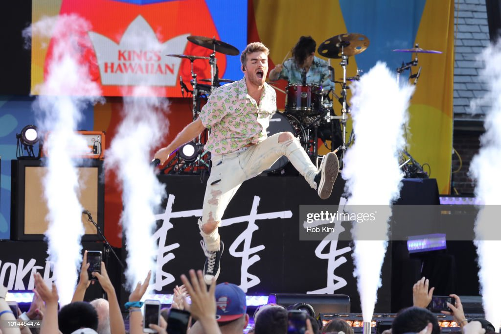 Andrew Taggart of The Chainsmokers performs on ABC's 'Good Morning America' at SummerStage at Rumsey Playfield, Central Park on August 10, 2018 in New York City.