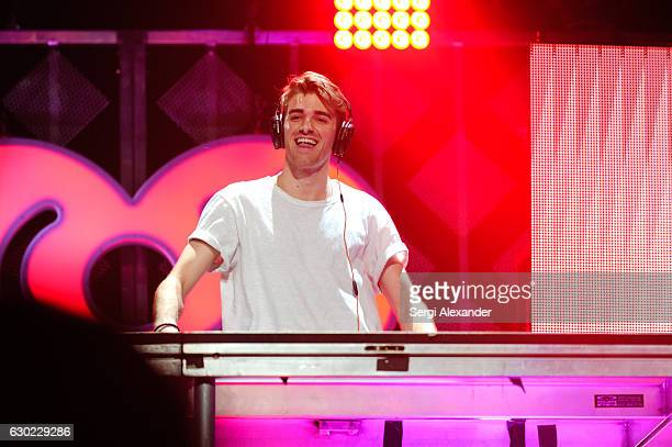 Andrew Taggart of The Chainsmokers performs on stage during the Y100's iHeartRadio Jingle Ball 2016 at BBT Center on December 18 2016 in Sunrise...