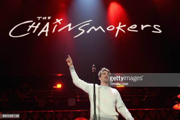 Andrew Taggart of The Chainsmokers performs onstage during 1035 KISS FM's Jingle Ball 2017 at Allstate Arena on December 13 2017 in Rosemont Illinois