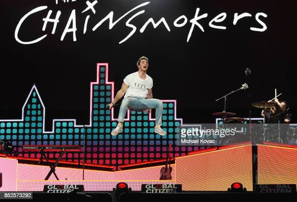 Andrew Taggart of the Chainsmokers performs onstage during Global Citizen Festival 2017 at Central Park on September 23 2017 in New York City