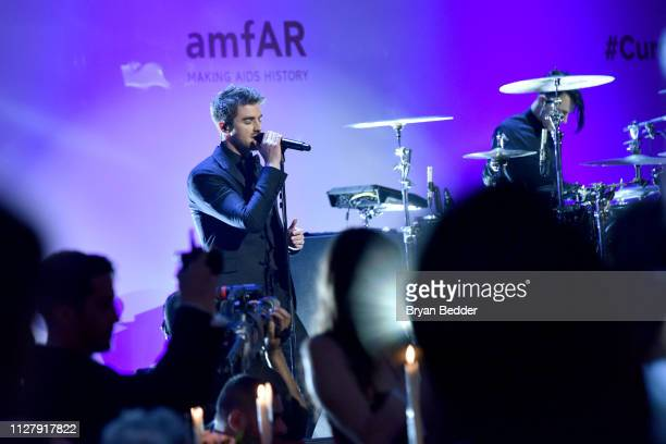 Andrew Taggart of The Chainsmokers performs onstage during the amfAR Gala New York 2019 at Cipriani Wall Street on February 06 2019 in New York City