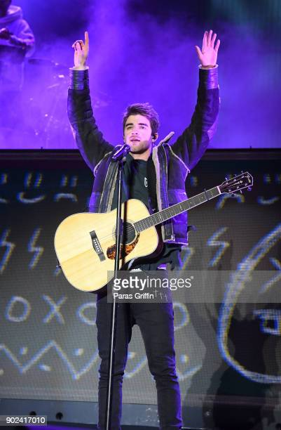 Andrew Taggart of The Chainsmokers performs onstage in concert during ATT Playoff Playlist Live at Centennial Olympic Park on January 7 2018 in...