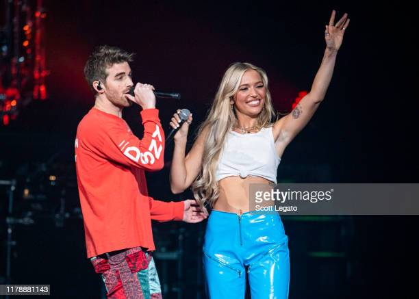 Andrew Taggart of The Chainsmokers performs with Lennon Stella at Little Caesars Arena in support of the World War Joy Tour on October 03, 2019 in...