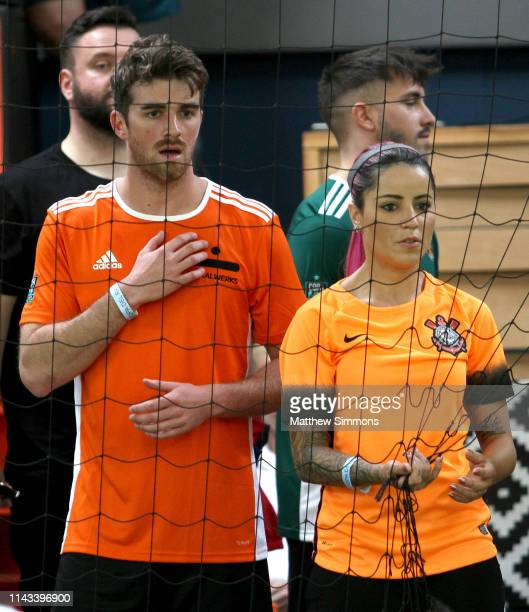 Andrew Taggart of the Chainsmokers watches as his team competes during the Copa Del Rave Charity Soccer Tournament at Evolve Project LA on April 17...