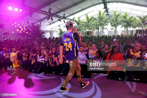 Andrew Taggart of the The Chainsmokers performs onstage at Michael Rubin's Fanatics Super Bowl Party at Loews Miami Beach Hotel on February 01 2020...