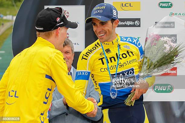 Andrew Talansky of the United States and Team Garmin wearing the yellow leaders jersey and Alberto Contador of Spain and Team TinkoffSaxo pictured on...