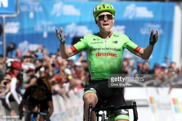 Andrew Talansky of the United States riding for CannondaleDrapac Pro Cycling celebrates afer winning stage five of the AMGEN Tour of California from...