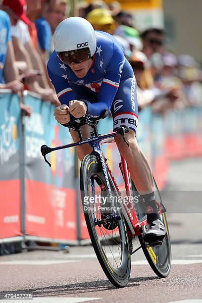 Andrew Talansky of the United States riding for CannondaleGarmin races to 90th place in the individual time trial in stage one of the 2015 Tour de...