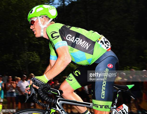 Andrew Talansky of the USA and Team Cannondale-Garmin in action on stage 14 of the 2015 Tour de France, a 178km stage from Rodez to Mende, on July...
