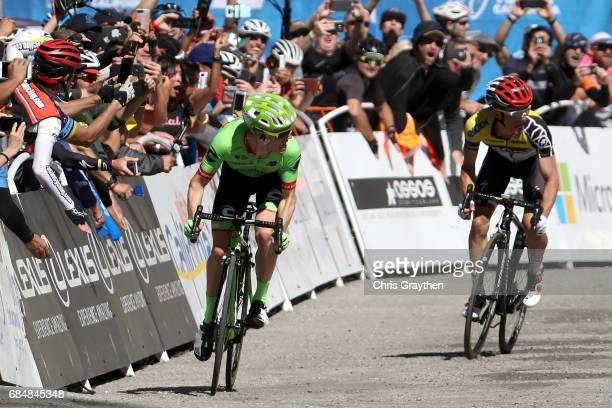 Andrew Talansky of United States riding for CannondaleDrapac Pro Cycling sprints ahead of Rafal Majka of Poland riding for BoraHansgrohe to win stage...