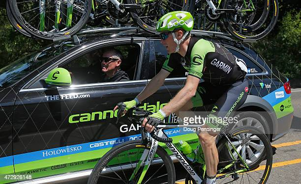 Andrew Talansky riding for Team Cannondale-Garmin talks to his team car during stage one of the 2015 AMGEN Tour of California on May 10, 2015 in...