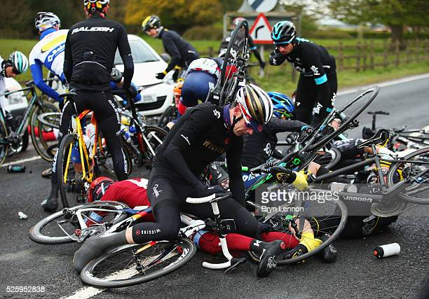 Andrew Tennant of Team Wiggins and Great Britain is involved in a crash during the first stage of the 2016 Tour de Yorkshire from Beverley to Settle...