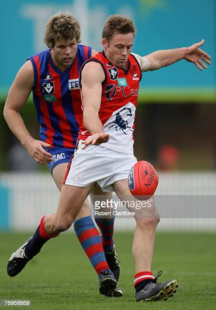 Andrew Thompson of the Scorpions lines up a kick during the round 17 VFL match between Port Melbourne and the Casey Scorpions at TEAC Oval August 4...