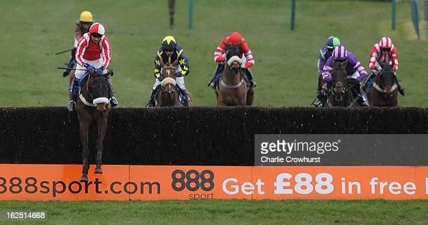 Andrew Thornton jumps the last on Time to Think to the win in The totequadpot at totepoolcom handicap steeple chase at Fontwell Park racecourse on...