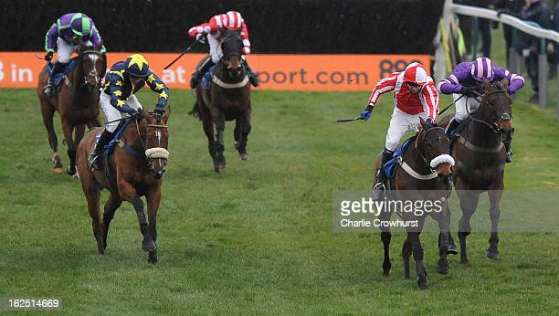 Andrew Thornton rides Time to Think to the win in The totequadpot at totepoolcom handicap steeple chase at Fontwell Park racecourse on February 24...