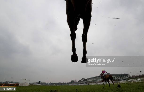 Andrew Thornton riding Red Anchor clear the last to win The Follow Us On Twitter @lingfieldpark Handicap Steeple Chase at Lingfield racecourse on...