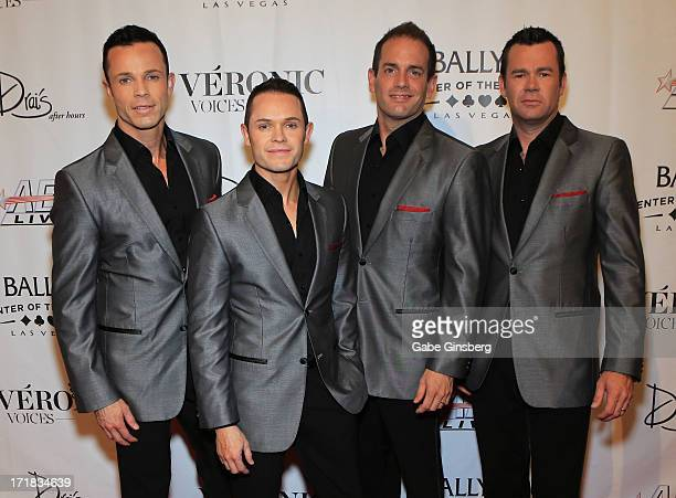 Andrew Tierney Michael Tierney Toby Allen and Phil Burton of the Australian vocal group Human Nature arrive at the premiere of the show Veronic...