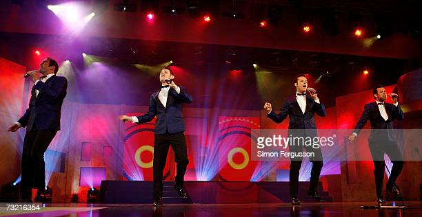 Andrew Tierney, Phil Burton, Michael Tierney and Toby Allen of Human Nature perform during the 2007 Allan Border Medal awards ceremony at Crown...