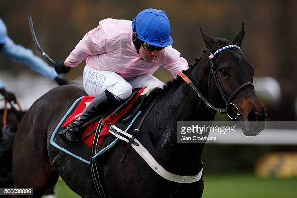 Andrew Tinkler riding O O Seven clear the last to win The Becky Cunnibgham 'National Hunt' Novices' Hurdle Race at Sandown racecourse on December 05...