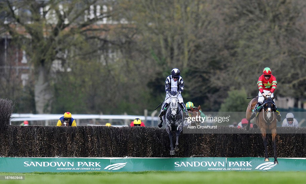 Andrew Tinkler riding Quentin Collonges (L) clear the last to win The bet365Gold Cup Steeple Chase from Same Difference (R) at Sandown racecourse on April 27, 2013 in Esher, England.