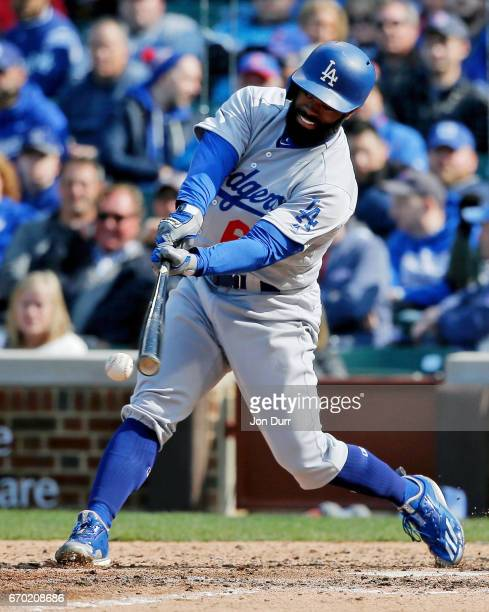 Andrew Toles of the Los Angeles Dodgers at bat against the Chicago Cubs during the eighth inning at Wrigley Field on April 13 2017 in Chicago...