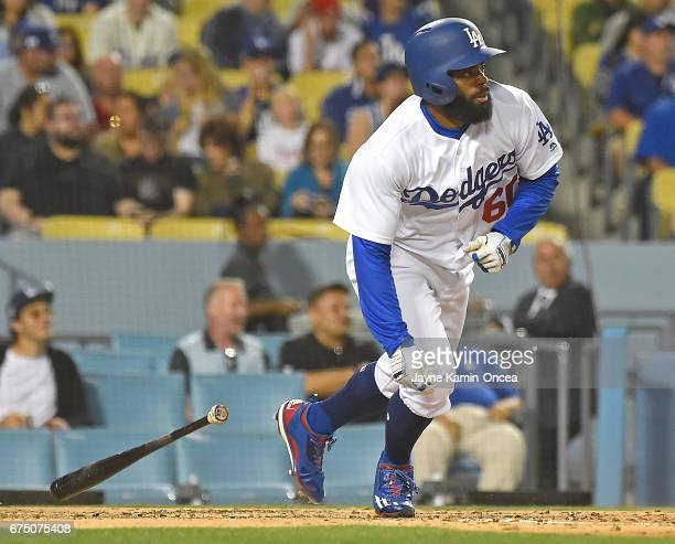 Andrew Toles of the Los Angeles Dodgers at bat in the game against the Philadelphia Phillies at Dodger Stadium on April 28 2017 in Los Angeles...