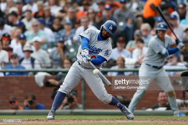 Andrew Toles of the Los Angeles Dodgers at bat in the sixth inning against the San Francisco Giants at ATT Park on September 29 2018 in San Francisco...