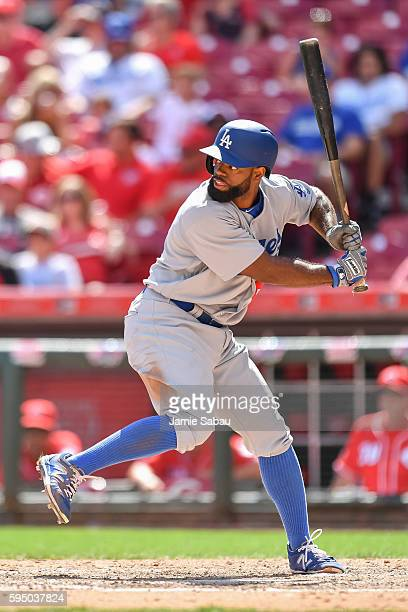 Andrew Toles of the Los Angeles Dodgers bats against the Cincinnati Reds at Great American Ball Park on August 21 2016 in Cincinnati Ohio