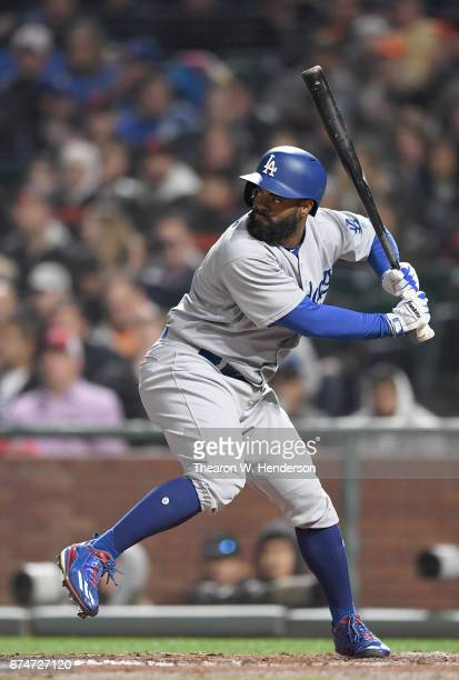 Andrew Toles of the Los Angeles Dodgers bats against the San Francisco Giants in the top of the fifth inning at ATT Park on April 26 2017 in San...